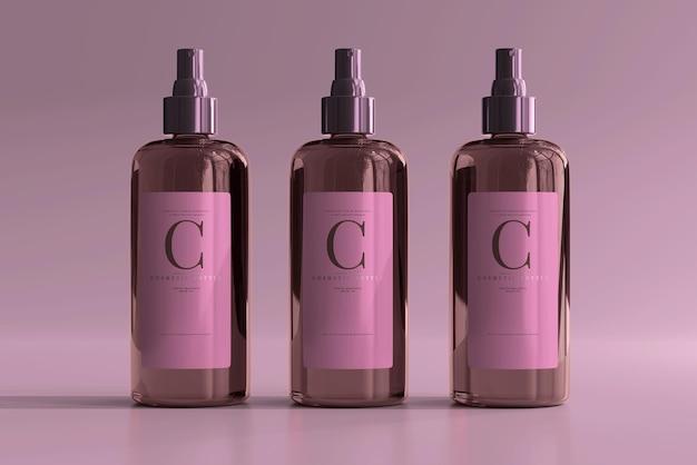 Maquete de frasco de spray cosmético de vidro âmbar