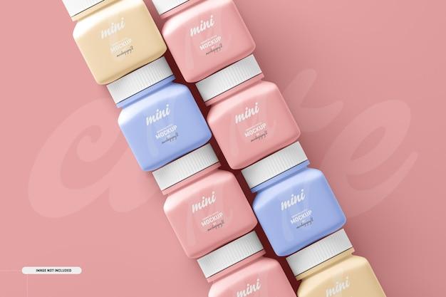 Maquete de frasco de suplemento de comprimido pequeno quadrado