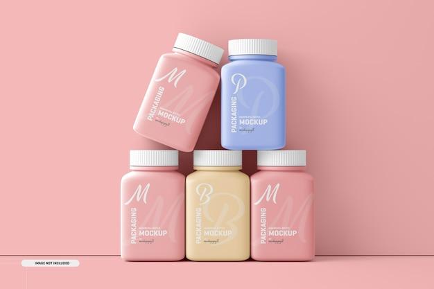 Maquete de frasco de suplemento de pílula quadrada média