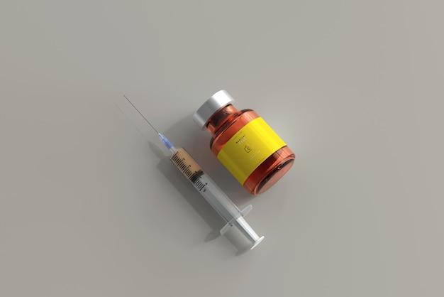 Maquete de frasco de vidro âmbar com seringa