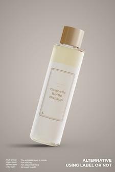 Maquete de frasco de vidro cosmético com vista frontal