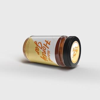 Maquete de frasco de vidro de laminação de mel natural realista topo frontal voando objeto isolado