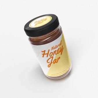Maquete de frasco de vidro de mel natural realista, topo da frente, maquete de objeto isolado voador