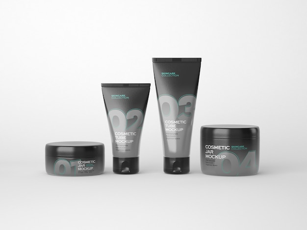 Maquete de frasco e tubo de cosméticos