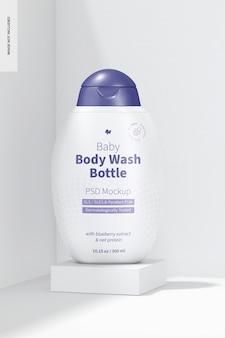 Maquete de frasco para lavagem corporal de bebê, perspectiva