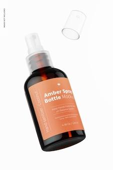 Maquete de frasco spray âmbar de 4,56 onças, flutuante