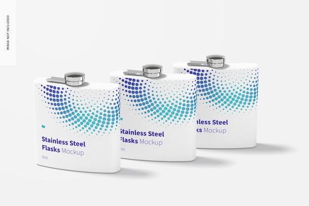 Maquete de frascos de aço inoxidável com revestimento em pó, perspectiva