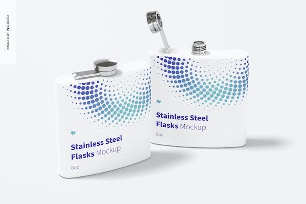 Maquete de frascos de aço inoxidável com revestimento em pó