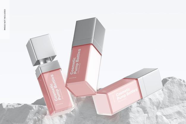 Maquete de frascos de bomba cosmética, caindo