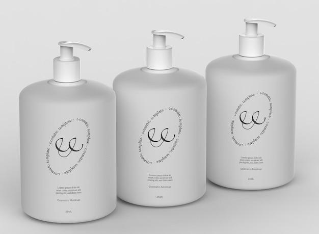 Maquete de frascos de bomba cosmética