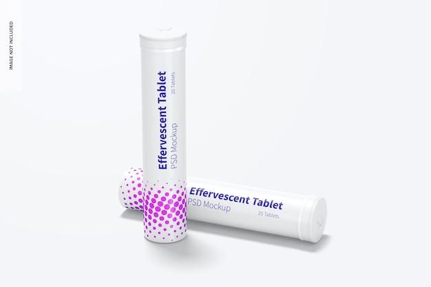 Maquete de frascos de comprimidos efervescentes, perspectiva