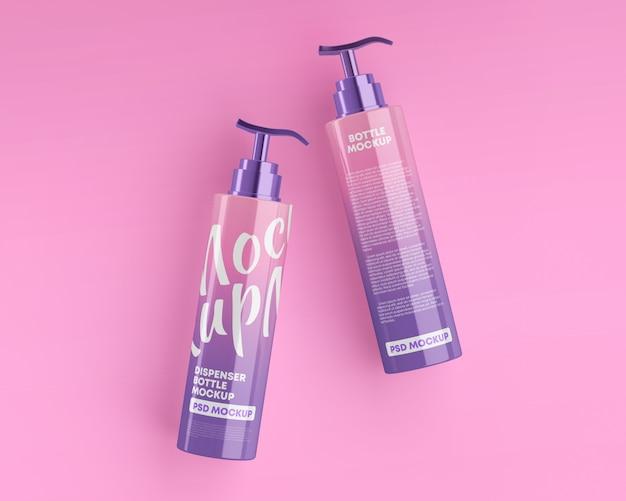 Maquete de frascos de cosméticos brilhantes