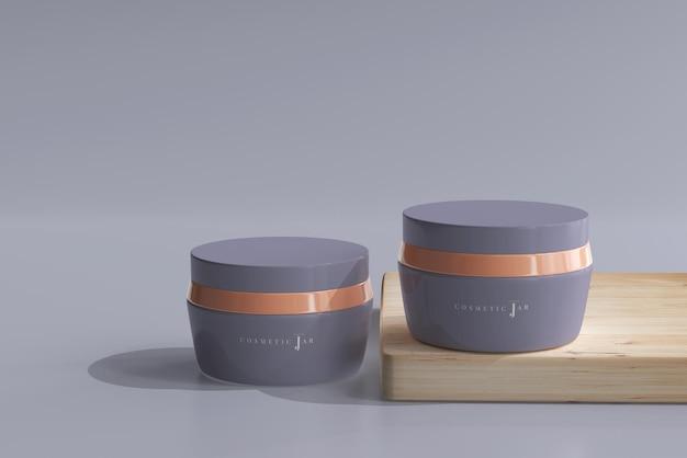 Maquete de frascos de cosméticos com placa de madeira