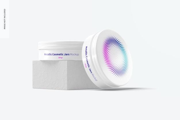 Maquete de frascos de cosméticos metálicos de 100 gr