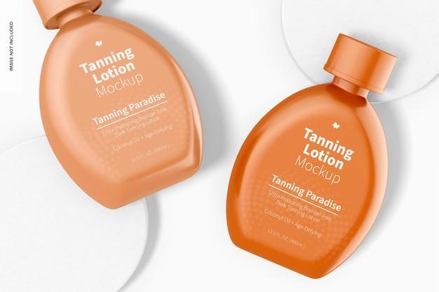 Maquete de frascos de loção bronzeadora de 13,5 onças, vista superior