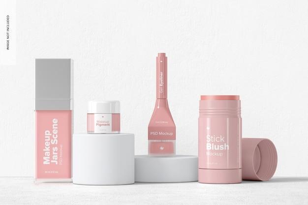 Maquete de frascos de maquiagem, vista frontal