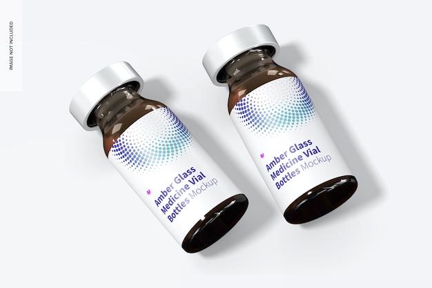 Maquete de frascos de medicamentos de vidro âmbar, vista superior