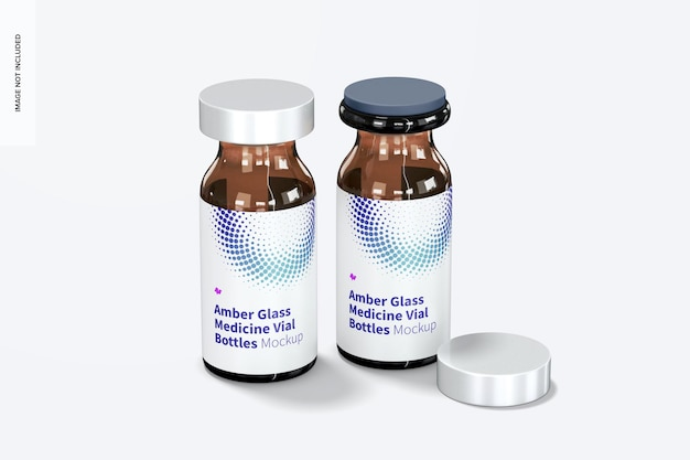 Maquete de frascos de medicamentos de vidro âmbar