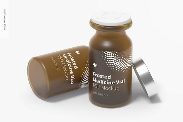 Maquete de frascos de medicamentos de vidro fosco de 2 ml