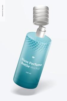 Maquete de frascos de perfume de vidro de 100 ml, caindo
