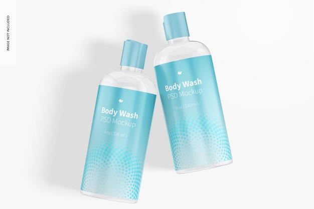 Maquete de frascos de plástico para lavagem corporal, vista superior