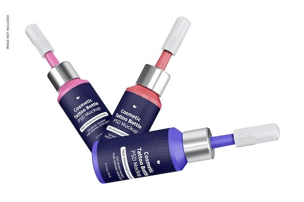 Maquete de frascos de tatuagem de micro pigmento cosmético