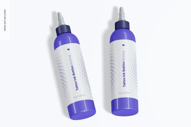 Maquete de frascos de tinta para tatuagem de 4 oz, vista superior