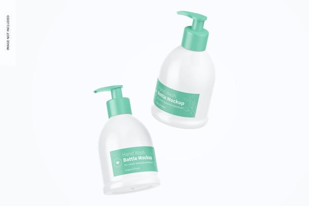 Maquete de frascos para lavagem de mãos de 9,3 onças, flutuante