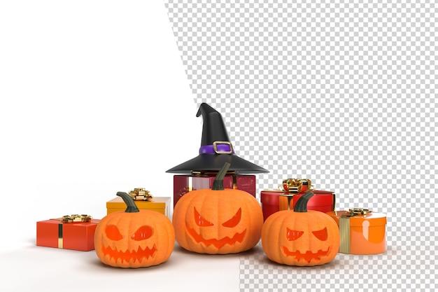 Maquete de fundo de halloween com abóboras, chapéu de bruxa e caixa de presente. celebração do conceito de design