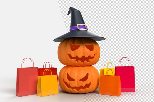 Maquete de fundo de halloween com abóboras, chapéu de bruxa e sacola de compras. projetos de marketing de conceito online