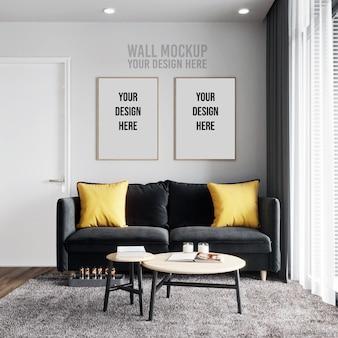 Maquete de fundo de parede de sala interior com maquete de moldura de cartaz