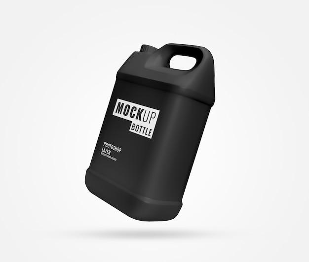 Maquete de galão de garrafa preta