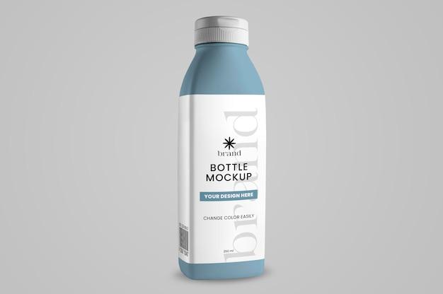 Maquete de garrafa azul isolada