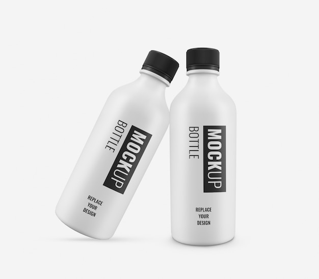 Maquete de garrafa branca brilhante