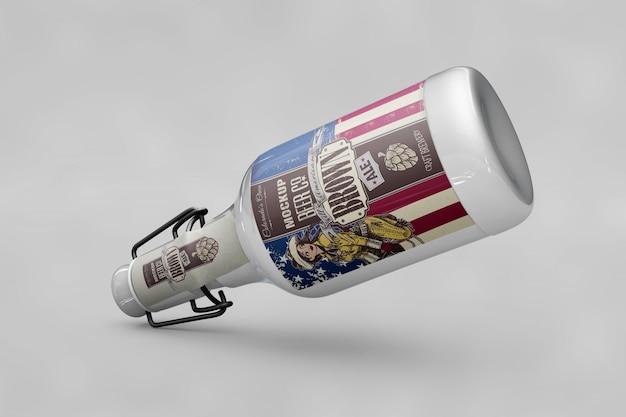 Maquete de garrafa com bandeira dos eua