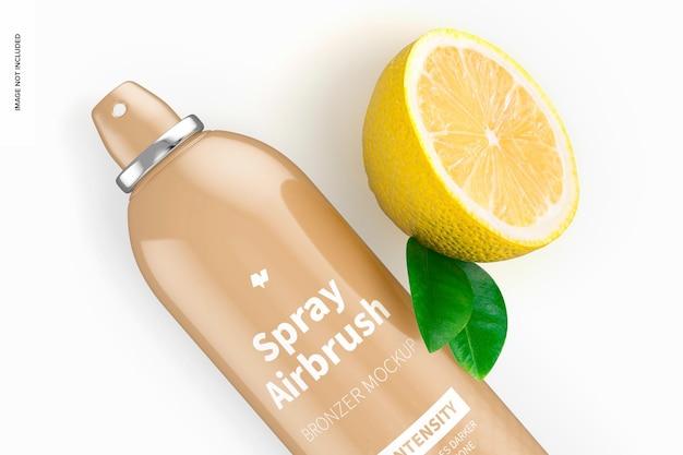 Maquete de garrafa de aerógrafo bronzer spray de 5,3 onças, close-up
