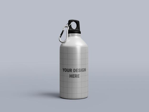 Maquete de garrafa de água de alumínio isolada