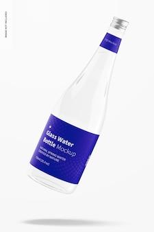 Maquete de garrafa de água de vidro, caindo