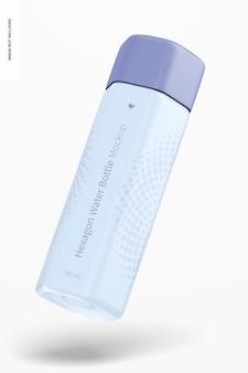 Maquete de garrafa de água hexágono 700 ml, flutuante