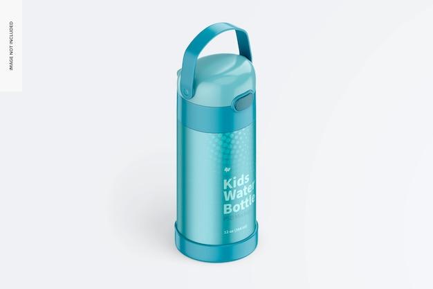 Maquete de garrafa de água infantil de 12 onças, vista direita isométrica