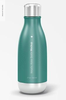 Maquete de garrafa de água metálica de 17 onças, vista frontal