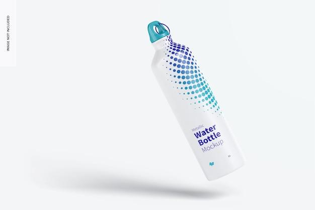 Maquete de garrafa de água metálica, flutuante