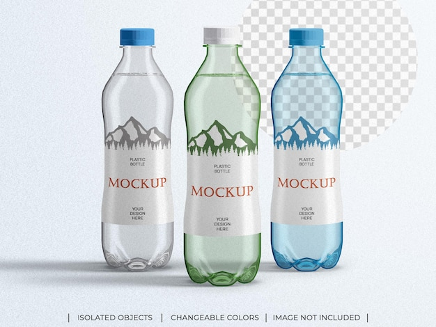 Maquete de garrafa de água mineral em embalagem plástica