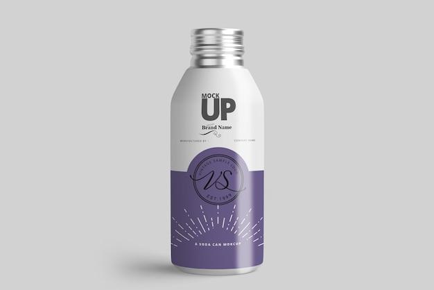 Maquete de garrafa de alumínio