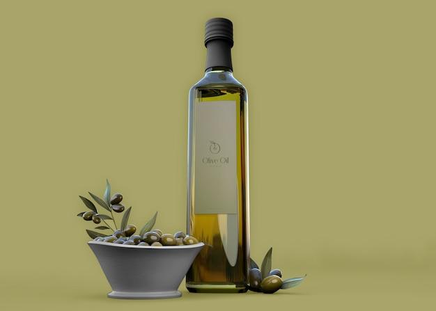 Maquete de garrafa de azeite de oliva