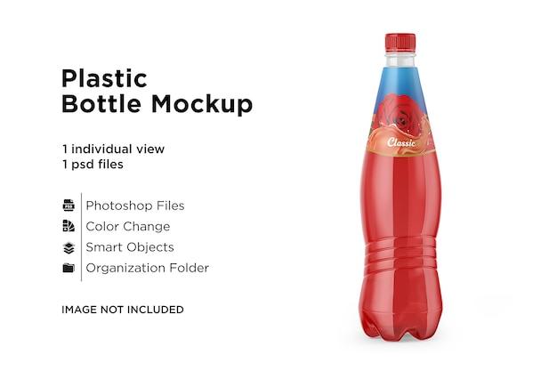 Maquete de garrafa de bebida de plástico colorido