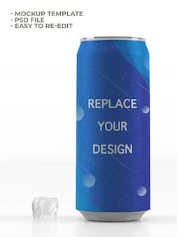 Maquete de garrafa de bebida enlatada