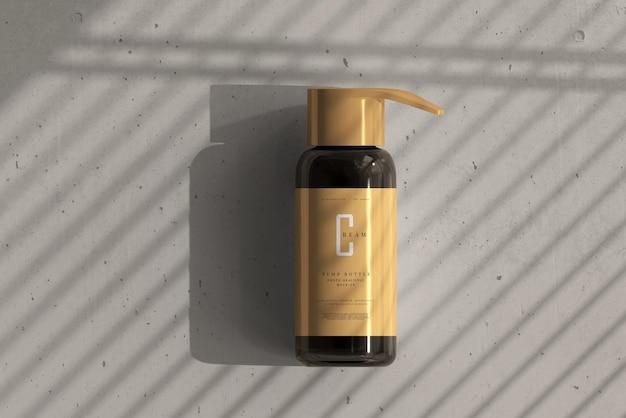 Maquete de garrafa de bomba de vidro âmbar