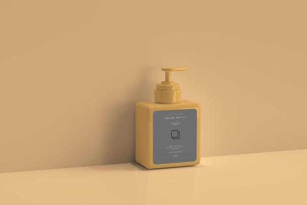 Maquete de garrafa de bomba quadrada