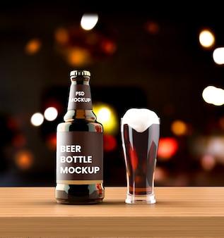 Maquete de garrafa de cerveja âmbar